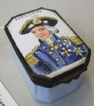An English gilt metal mounted enamel snuff box