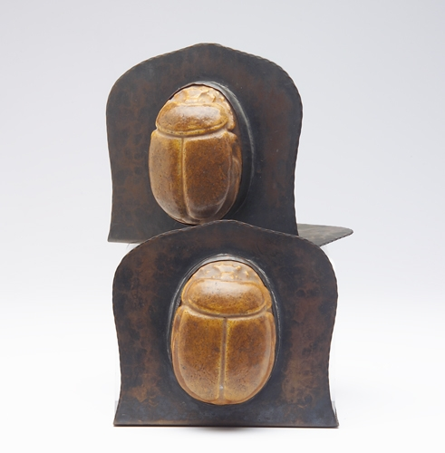 ARTS & CRAFTS Copper  Scarab Bookends (American, early 20thC)