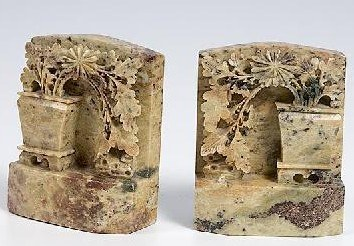 Chinese SOAP STONE Bookends ca late 19thC