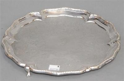 ENGLISH STERLING SILVER SALVER Marked London, Victorian, 1871-72, by Stephen Smith