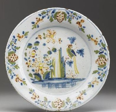 English Delft POLYCHROME PLATE - ca 18thC