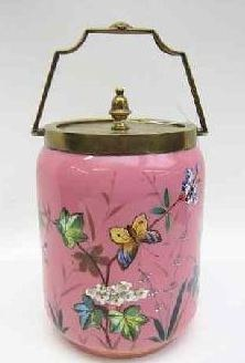 English Victorian Enameled Porcelain Biscuit Jar (Webb & Sons - Staffordshire)