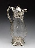 FRENCH SILVER OVERLAY CLARET JUG