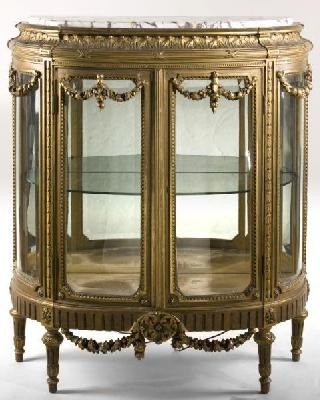 French Louis XVI Style Marble Top Vitrine, late 19thC