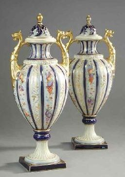 German Enameled Porcelain Urns (Rudolstadt, ca early 19thC)