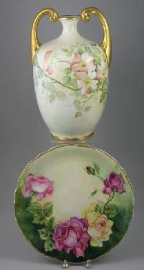 Hand-painted LIMOGES Vase and a Decorative Plate - early 20thC