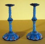 PAIR OF ENGLISH BLUE GROUND ENAMEL CANDLESTICKS