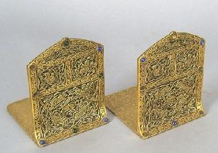 Pair of TIFFANY STUDIOS Brass Bookends - ca 1910s