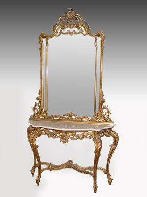 ROCOCO MARBLE TOP GILT HALL TABLE AND MIRROR