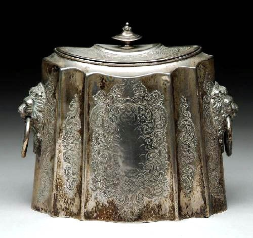 Sheffield Silverplated Tea Caddy, ca 1800
