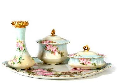 Typical LIMOGES Dresser Set ca early 20thC made by Haviland