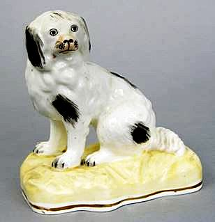 A figurine of a Spaniel by Alcock & Co, ca mid-19thC