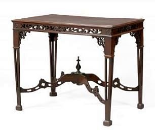 ANTIQUE ENGLISH CHINESE-STYLED CHIPPENDALE MAHOGANY TABLE