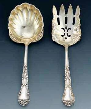 American French-styled Sterling Silver Salad Set