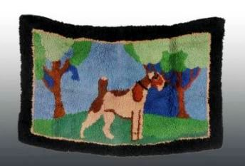 Antique Hooked Rug Depicting Dog