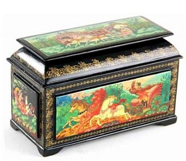 Antique Russian Lacquered Jewelry Box, signed or initialed by the artist