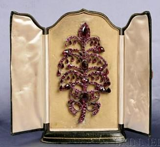 Antique Silver and Garnet Brooch, 18th Century