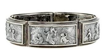 Antique Silver and Gold Repousse Bracelet with Hallmarks