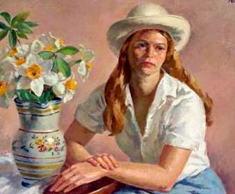 Appreciating antique pottery (painting by KLEIN Sandor C. - American 1912-1995)