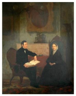 Attributed to Henry Sargent - Couple in a Interior -  Oil on canvas