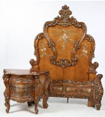 BEDROOM FURNITURE French style with ornately carved scrollwork