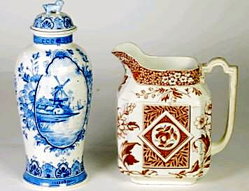 Early Victorian Alcock & Co Staffordhire Chinoiserie Urn and a Jug