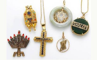 Enamel, gem-set, 18k, 14k gold and gold-filled religious jewelry