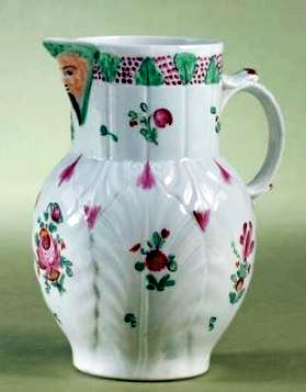 English Porcelain Cabbage Leaf Jug with  polychrome Enamel -  late 18thC