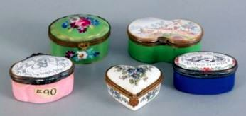 English Porcelain Enamel patch boxes, ca 19thC