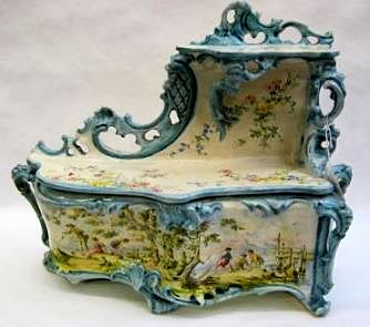 FRENCH FAIENCE ART POTTERY BAROQUE DRESSER BOX