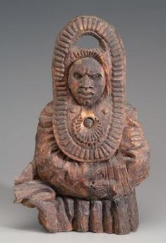 Folk art sculpture (Jesse Jeter, New Orleans, Louisiana), 'The Sorcerer' depicting man of African descent in a traditional headdress, unsigned