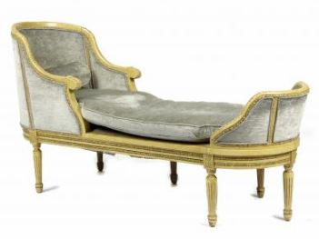 Louis XVI style paint decorated chaise lounge