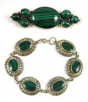 MALACHITE AND SILVER JEWELRY with maker's mark and hallmark