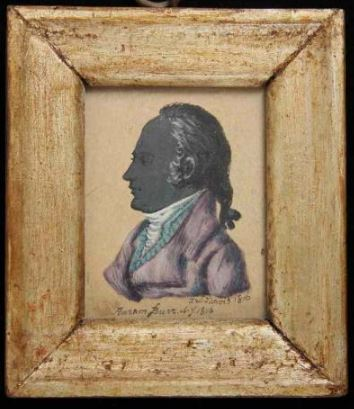 MINIATURE Profile Portrait of Aaron Burr by John Wesley Jarvis (NY 1780-1840)