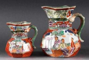 Mason ironstone Enamel transfer decorated jugs in the chinoiserie taste second quarter-19thC