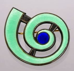 Mid-Century Modernist Enamel Brooch by Jan Tostrup, Norway, ca. 1950's