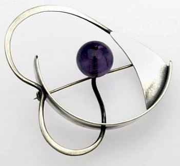 Modernist abstract sterling brooch with amethyst bead and American maker's marks