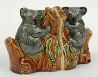 PAIR OF KOALA CERAMIC BOOKENDS ca 1960s