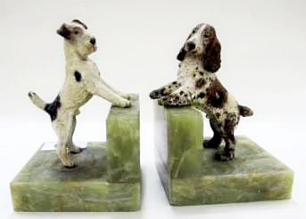 Pair of Art Deco cold painted bronze dog bookends on green onyx bases