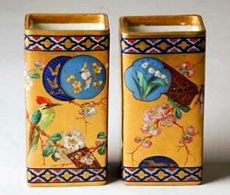 Pair of English Porcelain Vases, chinoiserie decoration