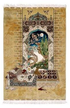 Pictorial Hereke silk rug, window with moonlit sky