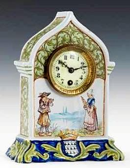 Quimper Faience Mantel Clock Hand decorated
