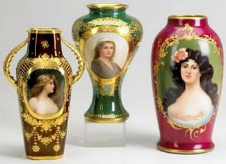 ROYAL VIENNA PORTRAIT VASES, early 20thC