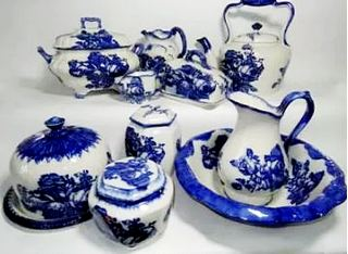 Reproduction blue and white printed ironstone china wares