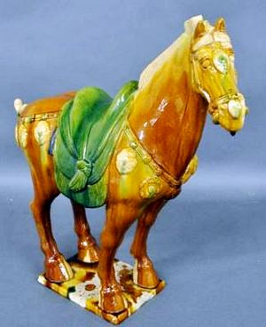 Reproduction glazed pottery Chinese Tang horse