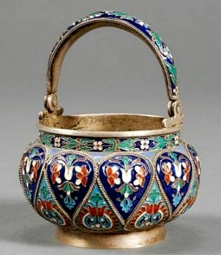 Russian Silver and Enamel Sugar Basket, with marks for Moscow, 1882