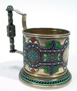 Russian silver tea glass holder with enamelled decoration and hallmarks