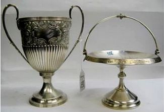 SILVER PLATED TROPHY CUP AND BRIDES BASKET