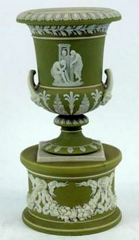 Wedgwood green jasper  urn on stand
