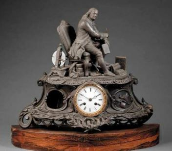 Antique French Patinated Metal Figural Mantel Clock 19thC